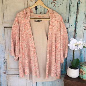 3/25 Volcom fleur de fleece kimono hoodie Aztec XL